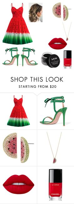 """""""Watermelon Refresh"""" by melody-marvell ❤ liked on Polyvore featuring WithChic, Gianvito Rossi, Betsey Johnson, Lime Crime, Chanel and NYX"""