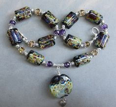 Necklace by Virginia Chasey, Lampwork focal by moi, other beads by Marianne Kivernagel