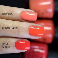 If you love bold fall colors, you should check out these gorgeous fall nail colors from OPI. Bold reds, deep purples and more at your fingertips! Tempura, Nail Polish, Nails, Ongles, Finger Nails, Manicure, Manicures, Nail, Nail Polishes