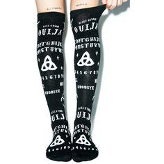 Kill Star Ouija Over The Knee Socks ($15) ❤ liked on Polyvore featuring intimates, hosiery, socks, overknee socks, above knee socks, kill star, embroidered socks and over-the-knee socks