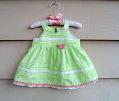 Vintage Eco Baby Dress - 3-6MO -  Sweet Little Green Chintz Eyelet Pin-tucked Sundress Upcycled with Buttons and Vintage Trim.  $26.
