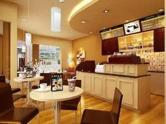 Coffee shop interior design ideas warm color schemes for cof Bakery Shop Interior, Coffee Shop Interior Design, Coffee Shop Design, Cafe Design, Layout Design, Design Design, Visual Merchandising, Kitchen Layout, Kitchen Design