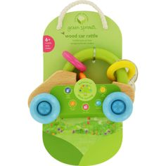 Green Sprouts Car Rattle Natural Wood 6 Months Plus 1 Count