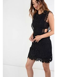 Look X glamorous black cut out detail crochet dress