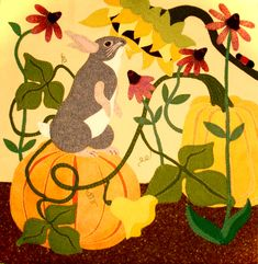 The Pumpkin Patch-by Jerome Thomas Designs-one of a series. Available at The Quilt Rack & Wool Cubby Motifs Applique Laine, Wool Applique Patterns, Applique Quilts, Rug Patterns, Felt Applique, Wool Quilts, Penny Rugs, Fall Pumpkins, Rug Hooking