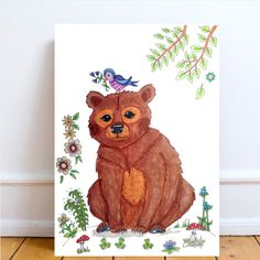 Forest bear print. Woodland nursery decor kids bear poster. Beautiful poster of a woodland bear. For more Colorful or black and white posters, visit LumisaDesign