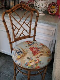 I used Brunshwig & Fils Xian for my stools pictured above. Any of these stools I have featured would be great in a Chinoiserie fabric of you...