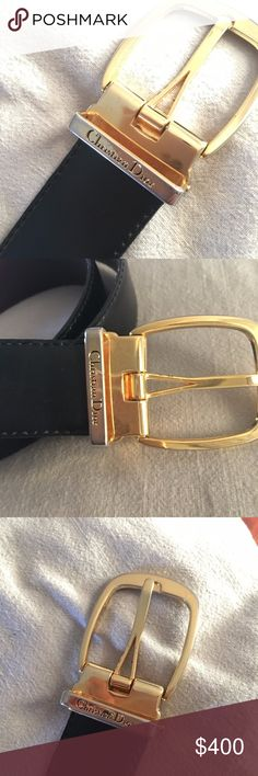 Christian Dior Reversible Belt - VINTAGE Rare/ Vintage Blk/ Brown reversible CHRISTIAN DIOR BELT Gold Buckle Monogrammed LOGO Beautiful  Good used condition Size 4-12 Fit depends on how you wear your trousers/ jeans/ shorts/ or fashion yourself.   Sleek Trade Value More Offers encouraged. Christian Dior Accessories Belts