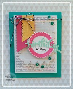 Birthday card by Amber Hight. Reverse Confetti stamp set: Circle Sentiments. Confetti Cuts: Scalloped Circle. Quick Card Panels: Let's Celebrate. SFYTT