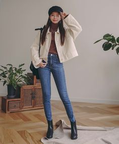Faded Slim Jeans Shop feminine adorable Korean clothing bag shoes acc for an instant charm Korean Winter Outfits, Korean Fashion Winter, Korean Girl Fashion, Korean Fashion Trends, Ulzzang Fashion, Korean Street Fashion, Asian Fashion, Korean Outfits School, Fashion Ideas