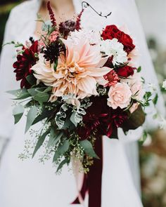 Gotta love #Dahlias | photo #ruffledvendor @withloveandembers #bouquets boutonnieres, #floral crown, and compote vases @littlebigfarm donuts @montclairbread shoes @freyaroseshoes reception dress @ChiChiClothing + more from this #NJwedding on #ruffledblog #onRuffled #fallwedding