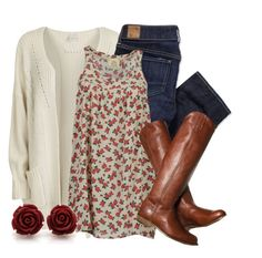 """""""Cozy Rosy"""" by qtpiekelso ❤ liked on Polyvore featuring VILA, American Eagle Outfitters, ATTIC AND BARN, Frye, women's clothing, women, female, woman, misses and juniors"""