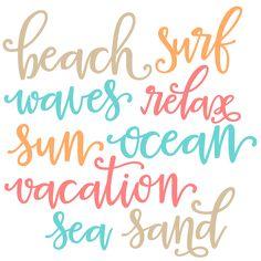 Beach Words SVG scrapbook cut file cute clipart files for silhouette cricut…