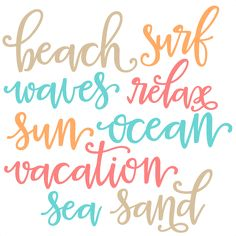 Beach Words SVG scrapbook cut file cute clipart files for silhouette cricut pazzles free svgs free svg cuts cute cut files