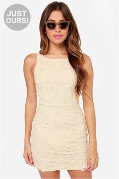 LuLu*s Exclusive! Fun is getting ready for a fabulous night out in the Loft Party Cream Lace Dres...