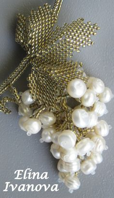 Necklace with natural pearl grape antic nature by Elinawonderland