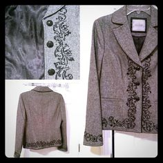 """Blazer 23' long Armpit to armpit measured flat 19' Shoulder to arm 24"""". 50% Wool, 33%Polyester and 17% Viscose.   Size M (8-10) Lined as d beautiful embroidery  as seen on photos. Very elegant with dark jeans, white top and black heels or flats. Jackets & Coats Blazers"""