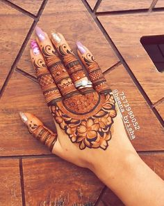 To all the brides who are tying the knot & the Sakhiyaans of the bride-to-be, this treasure trove of easy mehndi designs inspiration is for you & only you! Basic Mehndi Designs, Finger Henna Designs, Henna Art Designs, Mehndi Designs For Girls, Mehndi Designs For Beginners, Dulhan Mehndi Designs, Mehndi Design Photos, Wedding Mehndi Designs, Mehndi Designs For Fingers