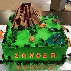 Dinosaurs with Volcano Birthday cake Daddy Cakes Bakery