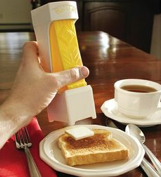 The Perfect Pat of Butter Every Time. RSA Butter Cutter. You place the entire stick inside of it, and with one click will have a perfect slice of butter. The container will also keep your butter free of other fridge contaminants. Only costing $11.00