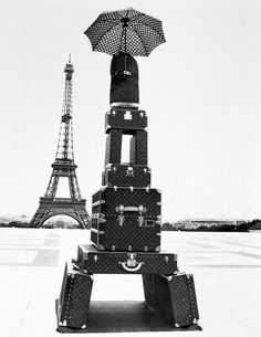 I love the humor of this photo of how the photographer took the eiffel tower and made a luggage replica of Louis vuittion bags. The contrast between the replica and the eiffel tower to the white colored background only focuses your eyes to the two eiffel towers! Love it!