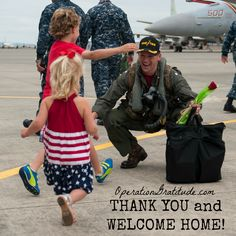 Cmdr. Todd Zentner, executive officer, Electric Attack Squadron (VAQ) 133, is greeted by family on the runway of Naval Air Station Whidbey Island during a command welcome home ceremony. VAQ-133 conducted an eight-month, regularly scheduled, 7th Fleet deployment aboard the USS John C. Stennis (CVN 74) supporting stability in the Indo-Asia-Pacific. (U.S. Navy photo by Mass Communication Specialist 2nd Class Alex Van'tLeven. Used with permission.)