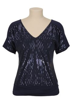 Sequin Dolman V-Neck Top available at #Maurices -- In Chili Pepper Red :)