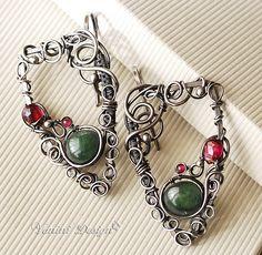 Tiya- Fine/Sterling Silver,Green Tourmaline and garnet Earrings by VaniniDesign, via Flickr