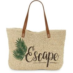 Straw Studios Straw Beach Tote (2.730 RUB) ❤ liked on Polyvore featuring bags, handbags, tote bags, purses, escape, hand bags, beach bag, woven beach tote, handbags totes and straw tote