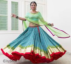 Adorable Garba outfit. Nice color combination.