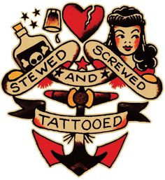 Sailor Jerry, Stewed, Screwed & Tattooed   T Shirt Design. Vulture Graffix Online Mail order T Shirts, Printed from $9.35US + Postage to anywhere in the world. Mix and Match, as many designs as you want, all on the same T shirt for the same low price!! #Sailor #Jerry #Tattoo #Flash #TShirt #Vulture #Graffix #Psychobilly #Punk #Rockabilly #Stewed #Screwed #Tattooed