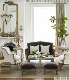 Room of the Day ~ gray, white, gold with a touch of green - love the mix of furnishings and those stools! Designer Annie Brahler. 6.13.2013