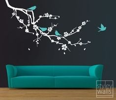 Cherry Blossom Branch and Birds - EXTRA LARGE - Vinyl Wall Decal | Styleywalls - Housewares on ArtFire