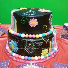 Black and neon birthday cake