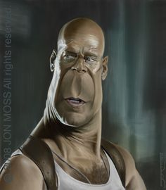 Bruce Willis Caricature by ~jonmoss77 ^_^