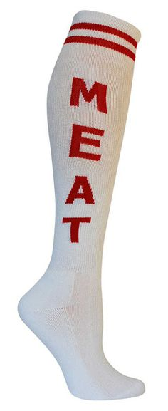White knee high socks with MEAT in red lettering and cushioned footbed.  Unisex design: fits a women's shoe size 7 - men's 13.5.