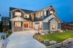 Exterior Craftsman Elevation - Side Drive Garage Lancaster, Landing, Craftsman, Garage, Exterior, Mansions, House Styles, Home Decor, Artisan