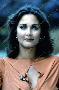 Lynda Carter miked up for interview 35m-2046