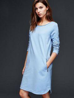 голубое платье из футера с широкой горловиной