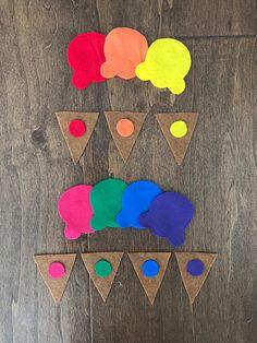 Rainbow Felt Ice Cream Cone Color Matching Game Kindergarten