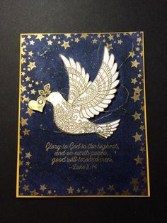 Stamps: Dove of Peace Paper: Crushed Curry, Night of Navy, WW Ink: Versamark…