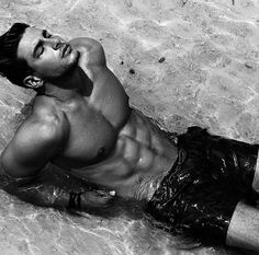 """Andrea Denver: """"Take my hand and… feel the sand beneath your aimless feet towards the sparkling waves"""" Have a great week guys"""" - May 2016 Andrea Denver, Monochrome, Body Inspiration, Beach Bum, Male Beauty, Handsome Boys, Gorgeous Men, Beautiful, Fitspiration"""