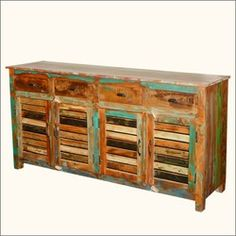 Paint Box Rustic Reclaimed Wood Shutter Door Sideboard Cabinet
