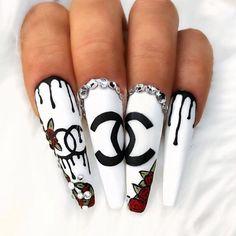 Likes, 5 Comments - Nail Inspo Nail Art Chanel, Chanel Nails Design, Gucci Nails, French Acrylic Nails, Bling Acrylic Nails, Square Acrylic Nails, Best Acrylic Nails, French Nails, Big Nails