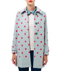 Polka dot wool and cashmere coat