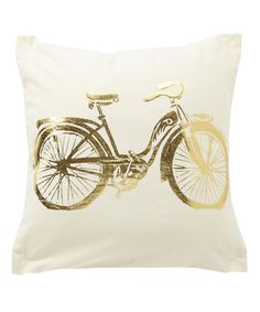 Gold Bike Throw Pillow