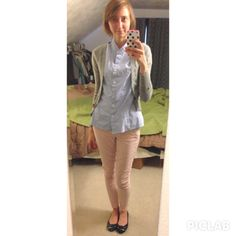 J crew button up - $2.00 (thrift) Costa Blanca cardigan - $3.00 (thrift) American eagle pants- $7.00 (eBay) Kenneth Cole flats - $10.00 (thr...
