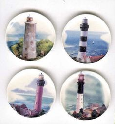 DOLL HOUSE MINIATURE 4 LIGHTHOUSE COLLECTOR PLATES NAUTICAL SEASHORE #ByBarb