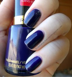 Thoroughly in love w/ this color.  Bought lots of dark blue polish to finally find one that is dark w/o being almost black but isn't a garrish blue. Revlon Urban
