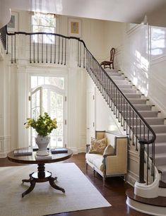 Historic Highland Park - Cathy Kincaid Interiors, Ltd. Dream Home Design, My Dream Home, Home Interior Design, Foyer Staircase, Staircase Design, Staircases, Curved Staircase, Grand Foyer, House Entrance